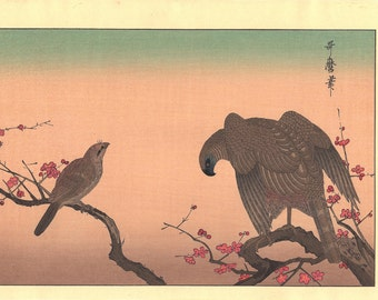 "Japanese Ukiyo-e Woodblock print, Utamaro , ""Falcon and Shrike"""