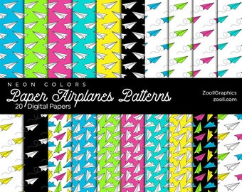 Paper Airplanes Patterns Neon Colors, 20 Digital Papers 12x12, Photoshop Pattern File PAT Included, Seamless Commercial Use INSTANT DOWNLOAD