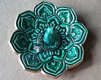 Ceramic Lotus Ring Holder Bowl  gold edged Full Malachite Green 3 1/4 inches round