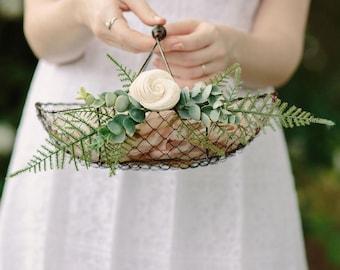 Flower Girl Basket | Rustic wire Flower Girl Basket | Copper Basket | Card Basket | Wire Basket | Floral Alternative | Wedding Basket | Gift