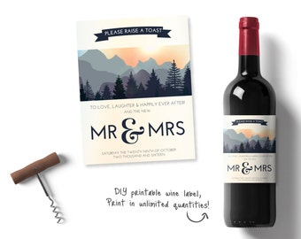 Personalised wedding wine, Personalised Wine Labels, mountain wine label, nature inspired wine label, printable wedding wine set, stationary