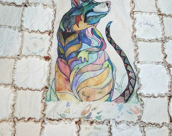 Shabby Chic Rattie Hand Painted  Queen Quilt