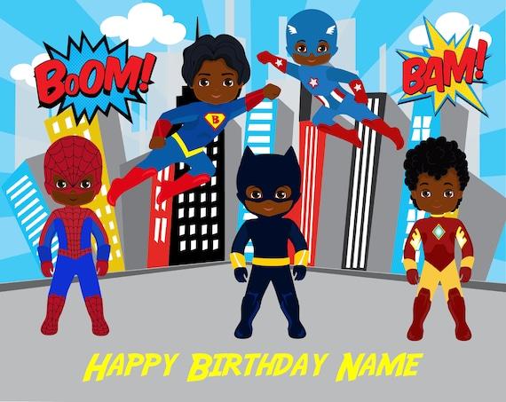 African American Superhero Cake Topper