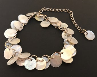 Shell charm bracelet anklet mother of pearl adjustable