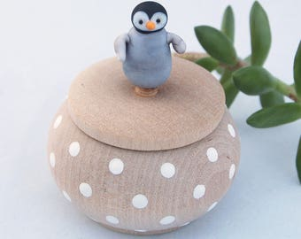 Tiny Wood Trinket Ring Treasure Box with  Lampwork Glass Baby Penguin Knob/Finial