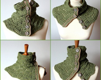 Knitting Pattern  Buttoned Lace Spring Cowl  (pdf file)
