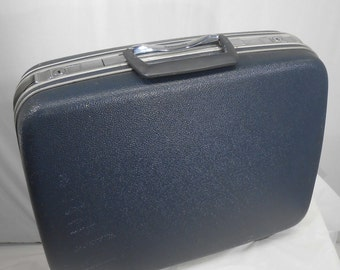 Vintage Hardshell Blue Samsonite Small Luggage Suitcase Travel