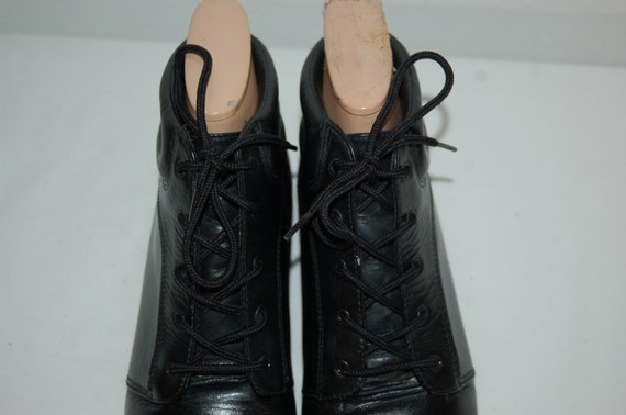 Up Ankle New Vintage Lace Black Women 2 1 Woods 9 Booties Alpine Size Leather 7wnIq4xZPI