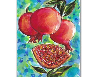 Pomegranate Watercolor, Original Painting, Judaica art, Fruit Art, Jewish Gifts, Pomegranate Gift, 5X7 Wall Art