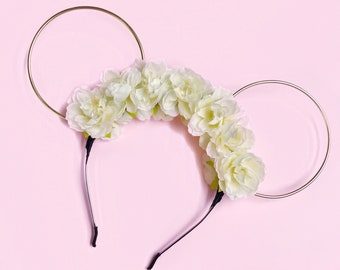 Cream Flower Crown with Gold Wire Mouse Ears