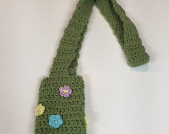 crochet water bottle holder carrier OLIVE GREEN long cotton machine washable gift idea drink hiking walking sippy cup