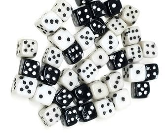 Vintage Funky Black and White Dice Glass Beads