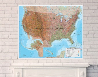 The online map store by mapsinternationalusa on etsy physical map of the usa home bedroom quality usa map office gift push pin map free shipping gumiabroncs Images
