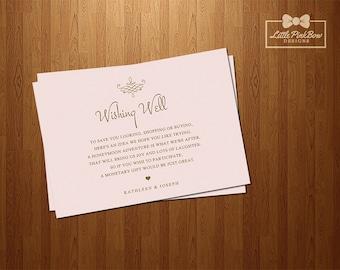 Wishing Well Printable, Pink Gold Wedding Wishing Well Card Printable, Blush Gold Wedding Wishing Well Card Printable