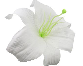 Large White Lily Flower Hair Clip