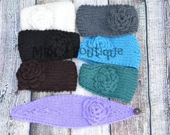 Knit Flower Ear warmer - Crochet Headband