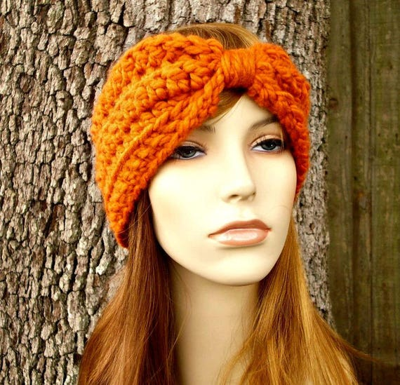 Pumpkin Orange Turban Headband - Orange Headband Orange Earwarmer Womens Headband - Crochet Accessories - 34 Color Choices