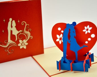 Pop Up Card - Anniversary Card - Love Card - Greeting Card - I Love You Card - Valentines Day Card