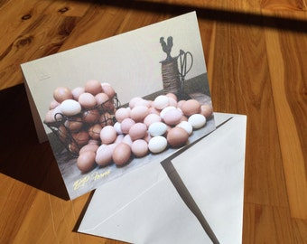 B.P. Farms - Bountiful Egg Basket with Twine Holder Scene - Set of 4 Cards Blank Inside