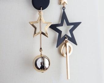 Star earrings, asymmetrical boho earrings, dainty gold black earrings, dangle bar asymmetrical earrings golden boho earrings, gift for her