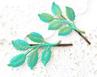 Patina Leaf Branch Bobby Pin Set - Hand Patina Leaf Branch Hair Pins - Woodland Branch Hair Pins - Wedding Hair Pins - Bridal Hair Pins