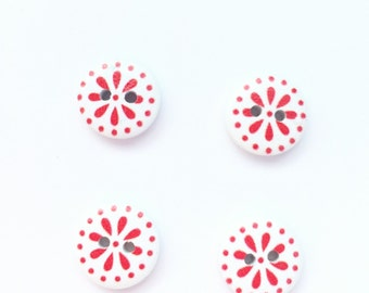 Red Floral Button - White Small Button - 15 mm Button - Scrapbook Buttons, Notions, Embellishment, Craft Supplies - Red Flower Button