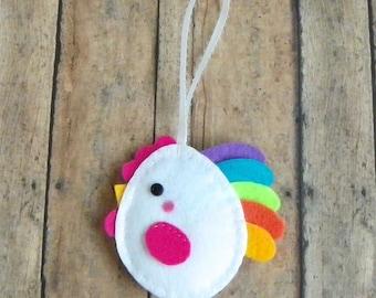 Easter Egg Ornament, Felt Chicken Easter Ornament, Felt Chicken Ornament