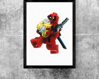 Lego deadpool color pencil print