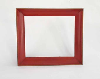 The Single Room Schoolhouse Vintage Picture Frame Red Aluminum Frame: Vintage Home Decor Wall Hanging, Rustic Decor, Primitive Decor