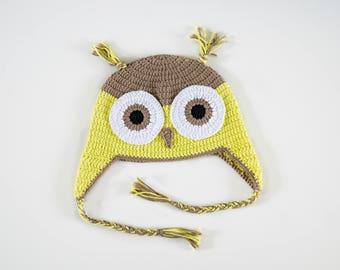 Beanie Hat OWL green OWL Beanie earflap Hat crochet hat, braids, bonnet child crochet OWL hat.