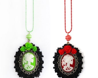 Lady Skeleton Cameo Rose Necklace - with matching studs