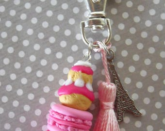 "Key ring Paris ""pink and raspberry"""