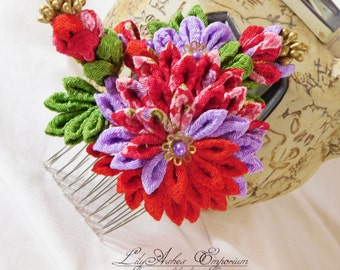 China Red with Wisteria Purple Tsumami Kanzashi Kimono Hair Accessory Comb Kiku with Bouquet