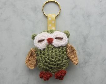 Cute crochet Owl keyring, Ready to Ship