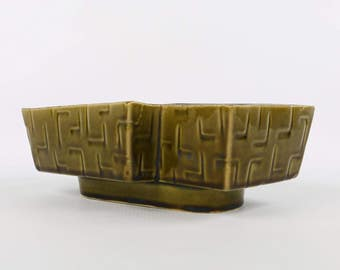 1940's-50's UPCO, Fred Ungemach Pottery Co, Roseville OH, Mid Century Modern Green Planter, Off-Set Rectangles, Excellent Cond.,