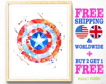 Captain America Shield Print, Avengers Print, Superhero Print, Marvel, Watercolor Art, Kids Decor, Home Decor, Wall Art, Boys Gifts -133