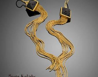 Black And Gold Pyramid Earrings With Gold Tassel Chains, Long Dangle Earrings, Boho Earrings, Lava Earrings, Gift For Her