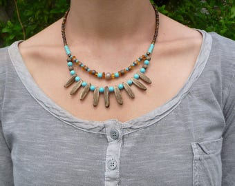 ethnic tribal designer necklace amber and turquoise howlite stones wood and seeds, handmade gift, nature jewelry