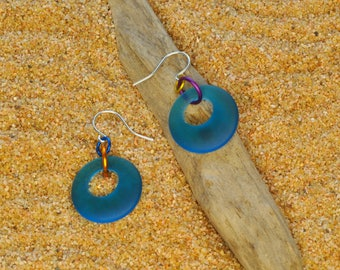Lightweight Colorful Anodized Aluminum Rings and Recycled Cultured Sea Glass Gypsy Hoop Earrings