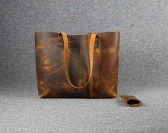 waxed leather tote bag ,leather tote,shoulder bag,handmade leather bag ,brown leather bag,borsa di cuoio,