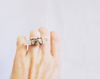 Horizontal Raw Crystal Ring