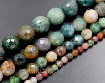 Natural Faceted Indian Agate beads, Green Gemstone Beads, Stone Spacer Beads, Round Natural Beads, 15''5 4mm 6mm 8mm 10mm 12mm