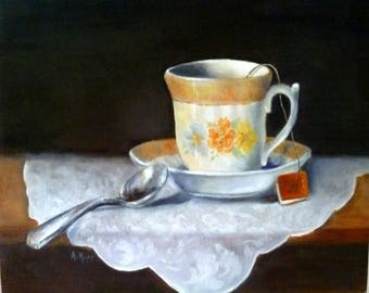 TEA TIME, giclee of oil painting, 9x12 by Alexandra Kopp