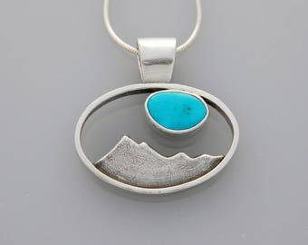 """Silver Mountain jewelry- silver and turquoise pendant """"Turquoise Skies"""" necklace"""