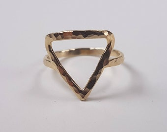 Gold-fill hand made ring Love Triangle. 20% Off. Free shipping