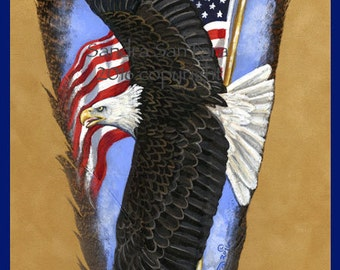 Patriotic Bald Eagle Soaring Feather Print