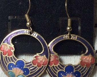Blue  Vintage Cloisonné Circular Flower Earrings