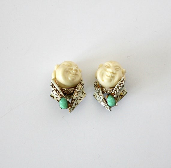 Vintage HAR Buddha Asian Earrings, Turquoise AB Color Stones, Clip On