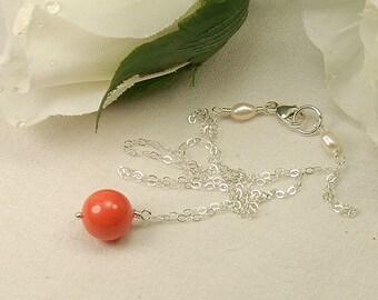 Coral Pearl Necklace, Bridesmaid Gift, Single Pearl Necklace, Bridesmaid Wedding Jewelry, Pearl Drop - Swarovski Pearl in Sterling Silver