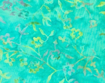 Floral Spray Batik Fabric - Artisan Indonesian from Majestic Batiks - D 138 Teal, Priced by the 1/2 yard